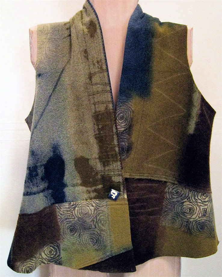 Olive Wool Patch Vest
