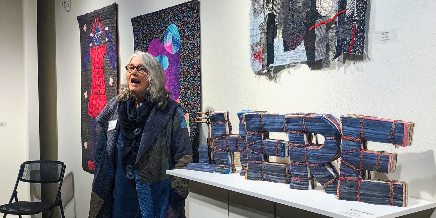 Holly Badgley discussing her art at the Sebastopol Center for The Arts