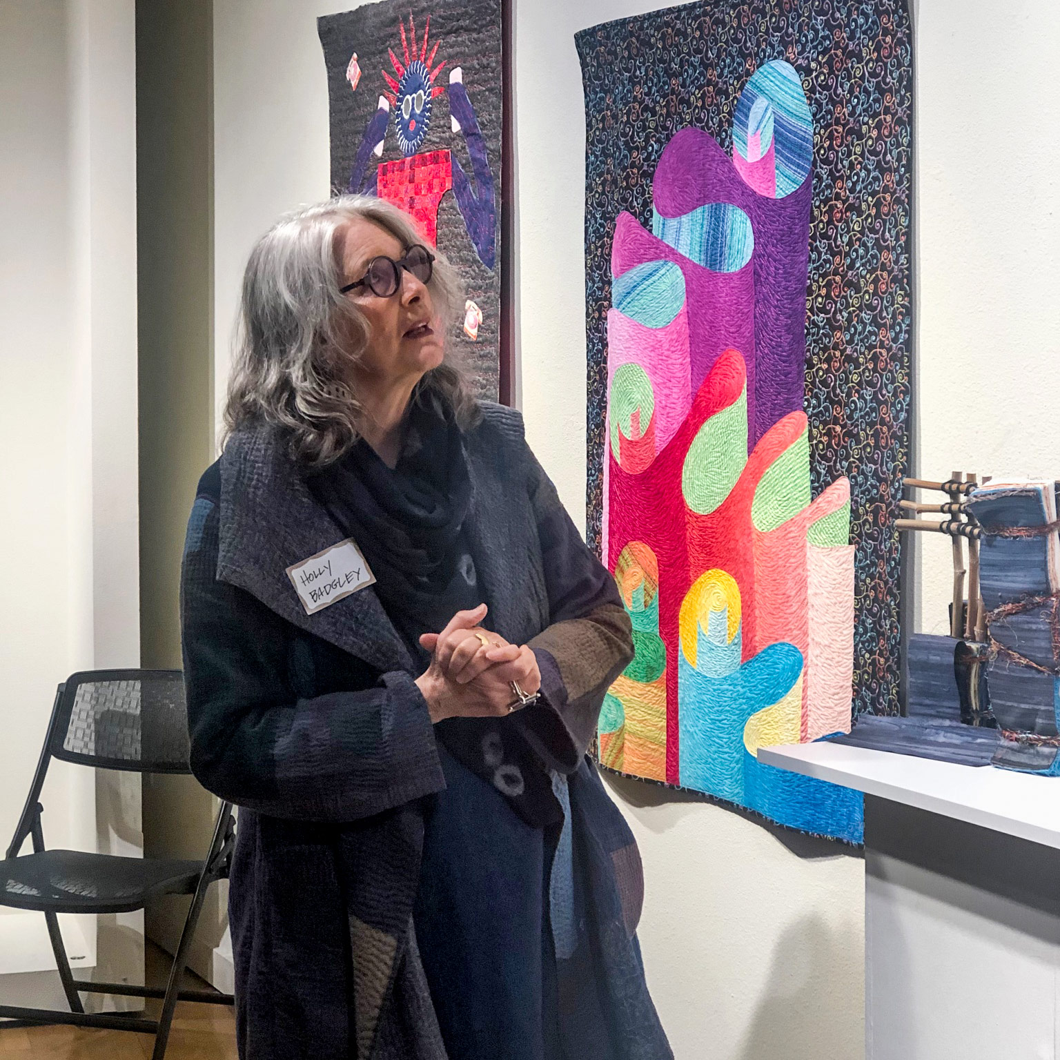 Holly Badgley discussing her textile art at the Sebastopol Center for the Arts